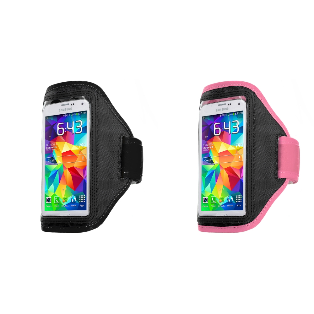 Samsung Galaxy S5 2 in 1 Combo Bundle Pack - Black Pink Running Sports Gym Armband