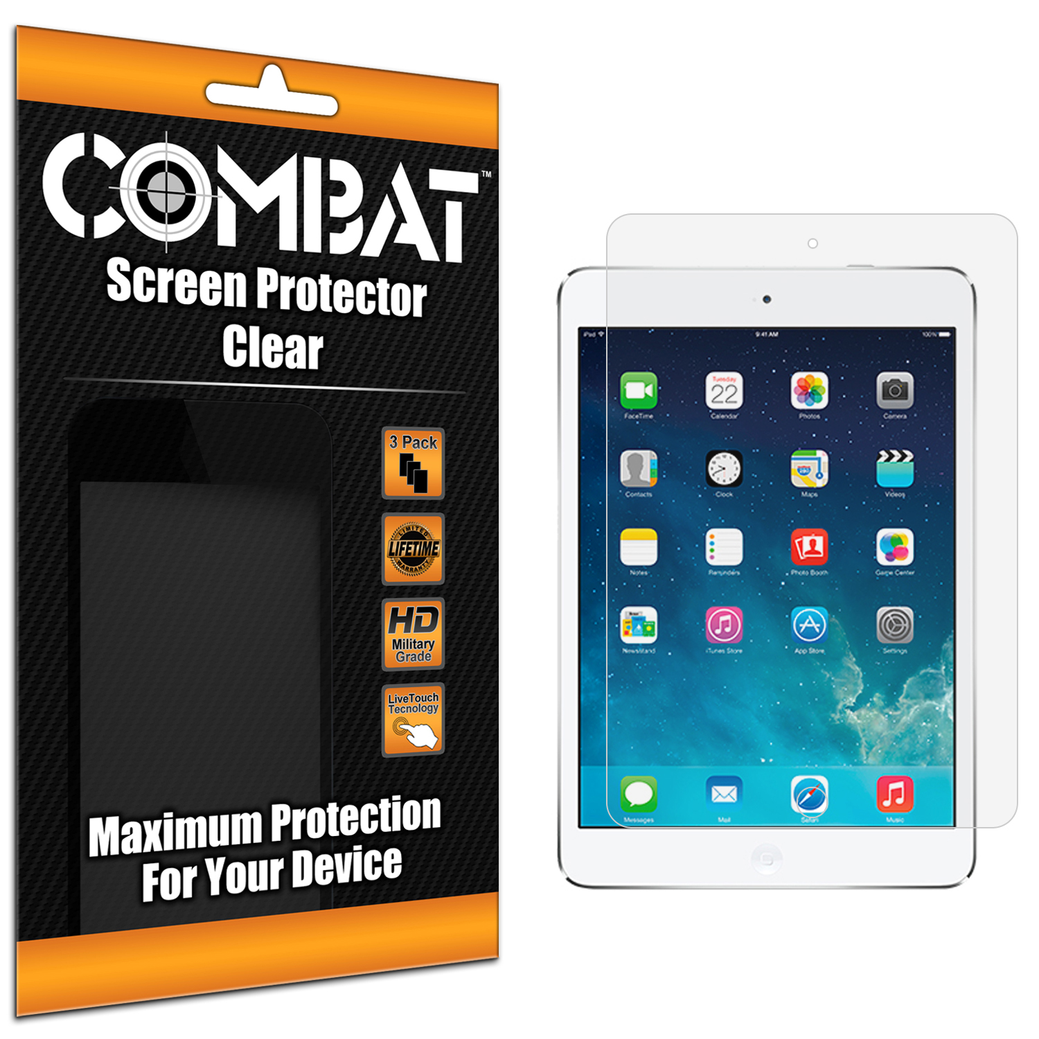 Apple iPad Air Combat 3 Pack HD Clear Screen Protector