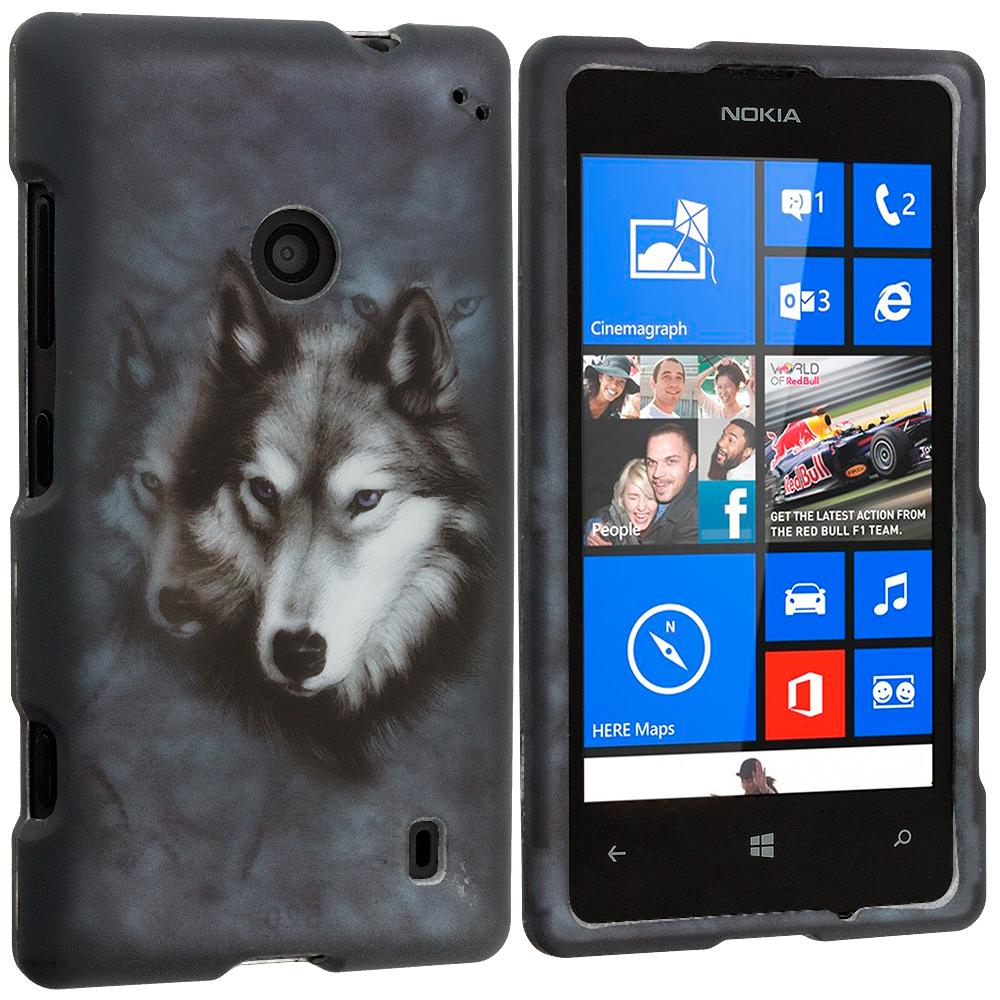 Nokia Lumia 521 Wolf 2D Hard Rubberized Design Case Cover