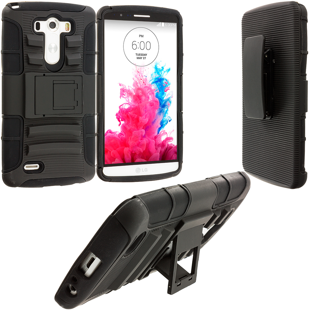 LG G3 Black Hybrid Heavy Duty Hard/Soft Case Cover with Holster