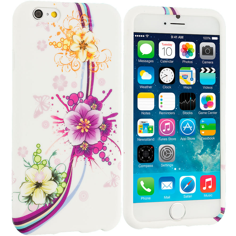 Apple iPhone 6 6S (4.7) Purple Flower Chain TPU Design Soft Case Cover