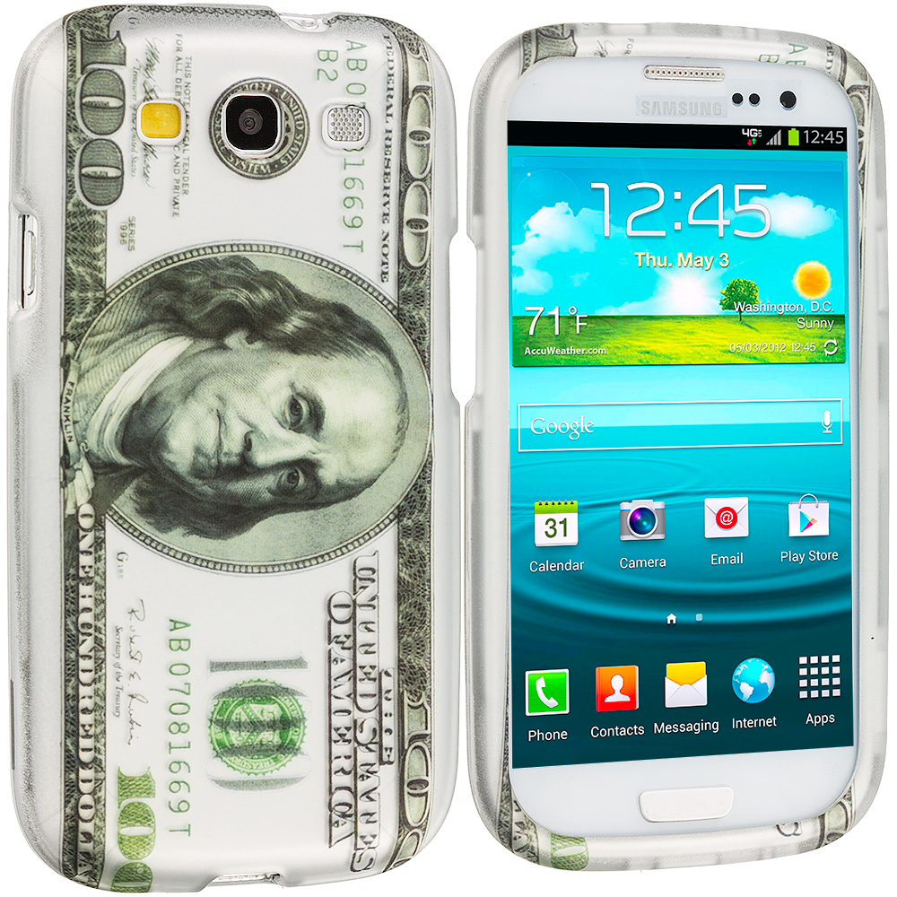 Samsung Galaxy S3 Hundred Dollars 2D Hard Rubberized Design Case Cover