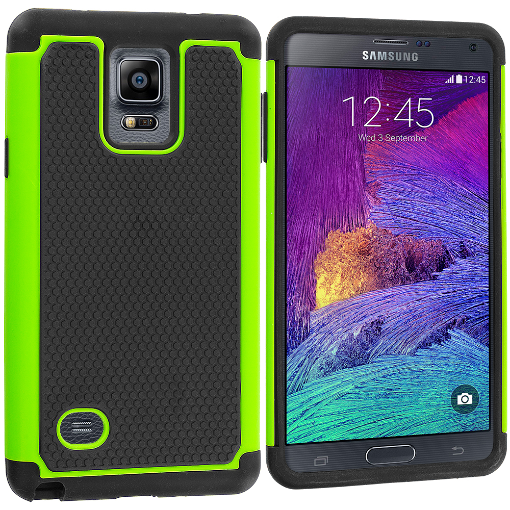 Samsung Galaxy Note 4 2 in 1 Combo Bundle Pack - Green Orange Hybrid Rugged Grip Shockproof Case Cover : Color Black / Neon Green