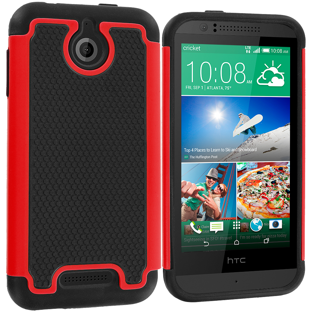 HTC Desire 510 Black / Red Hybrid Rugged Grip Shockproof Case Cover
