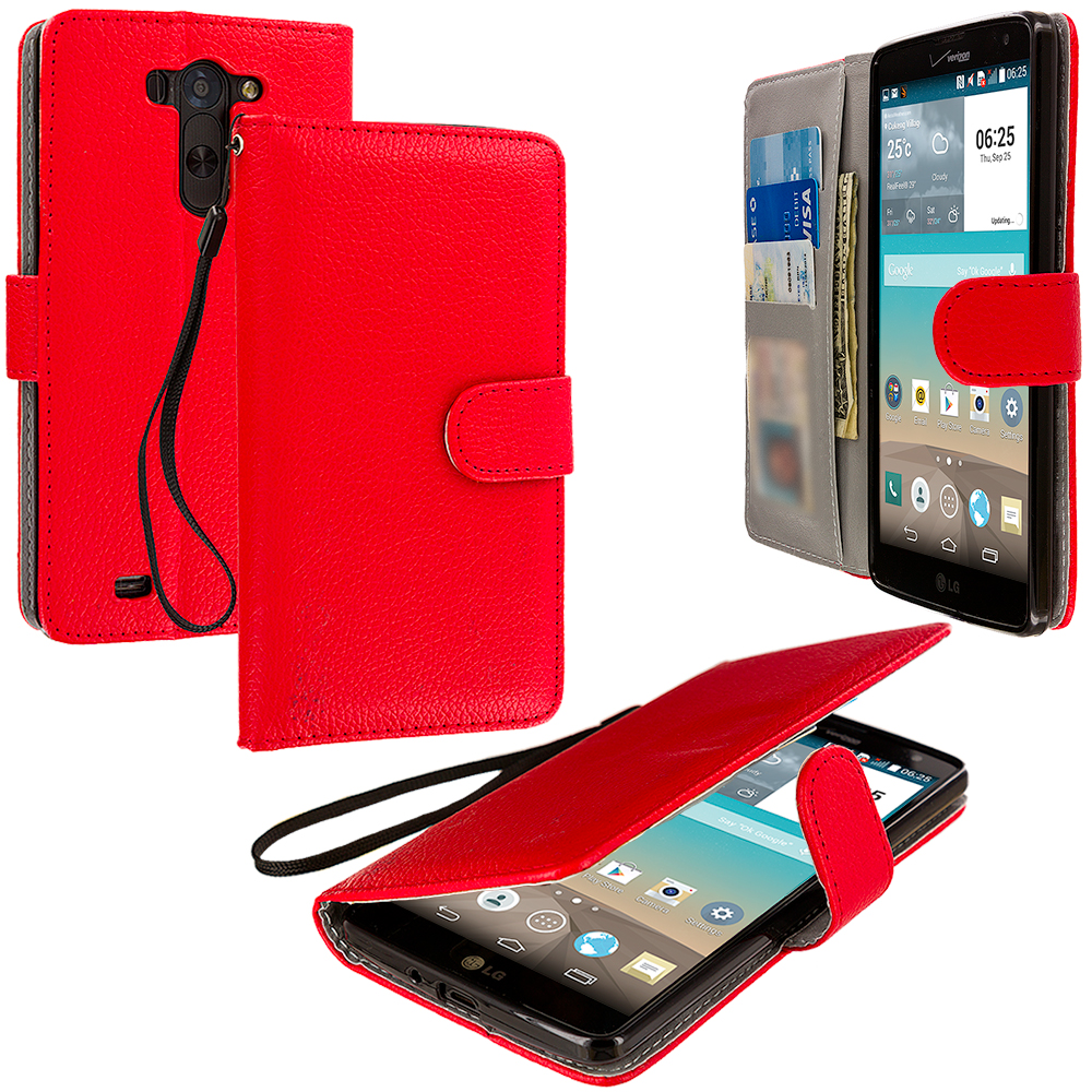 LG G Vista Red Leather Wallet Pouch Case Cover with Slots