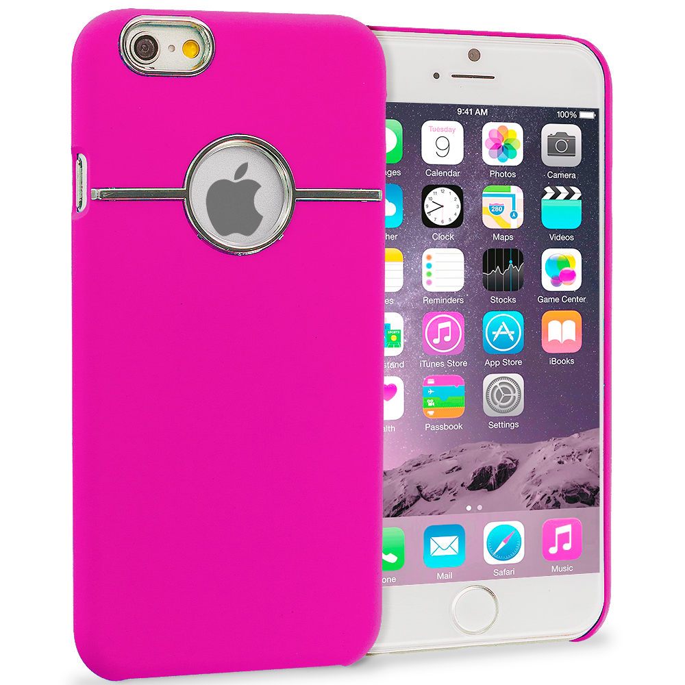 Apple iPhone 6 6S (4.7) Hot Pink Deluxe Chrome Hard Rubberized Back Cover Case