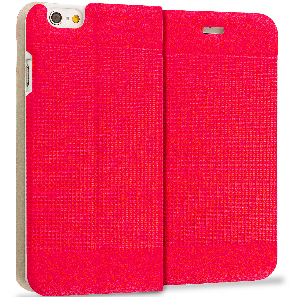 Apple iPhone 6 Plus Red Slim Wallet Flip Design Case Cover