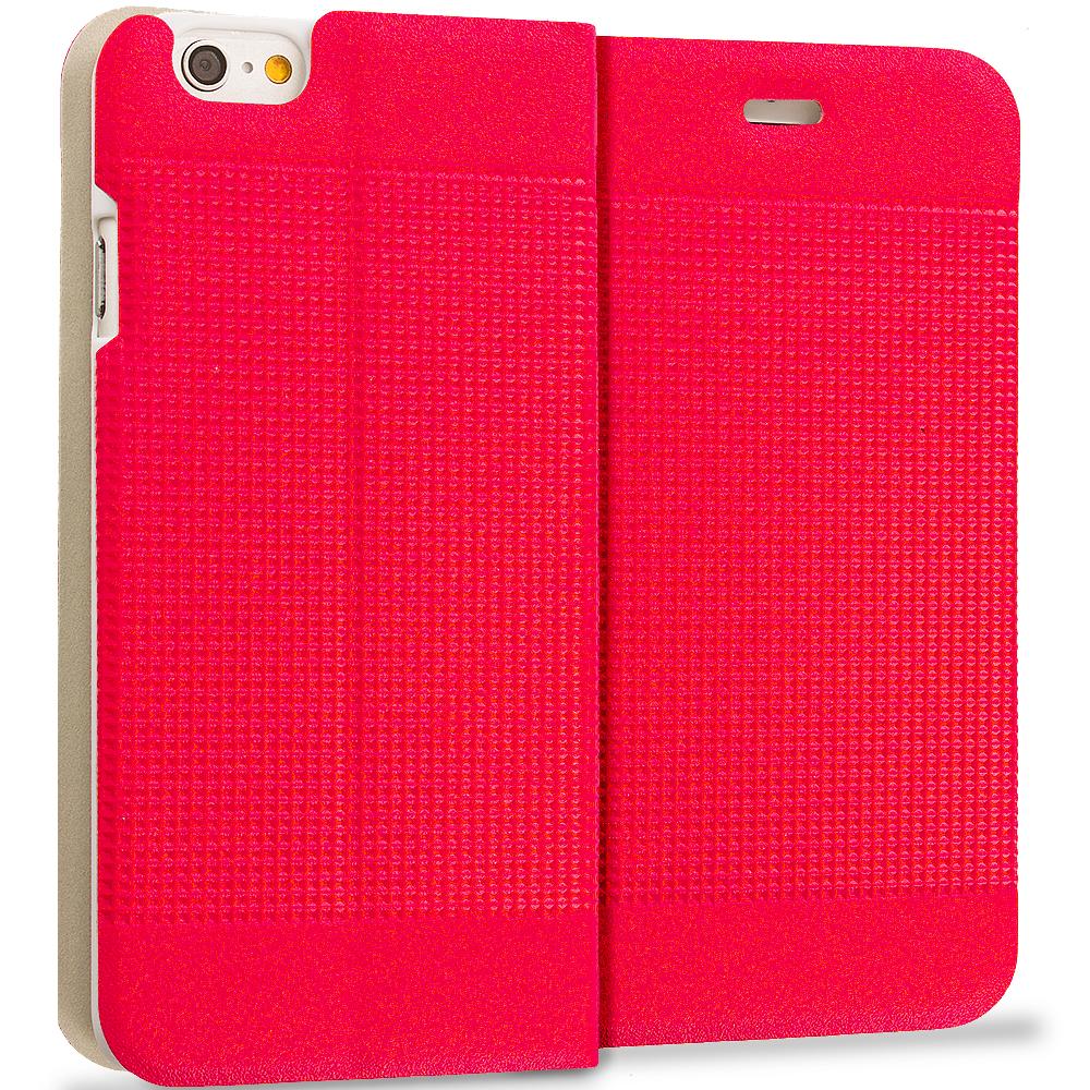 Apple iPhone 6 Plus 6S Plus (5.5) Red Slim Wallet Flip Design Case Cover