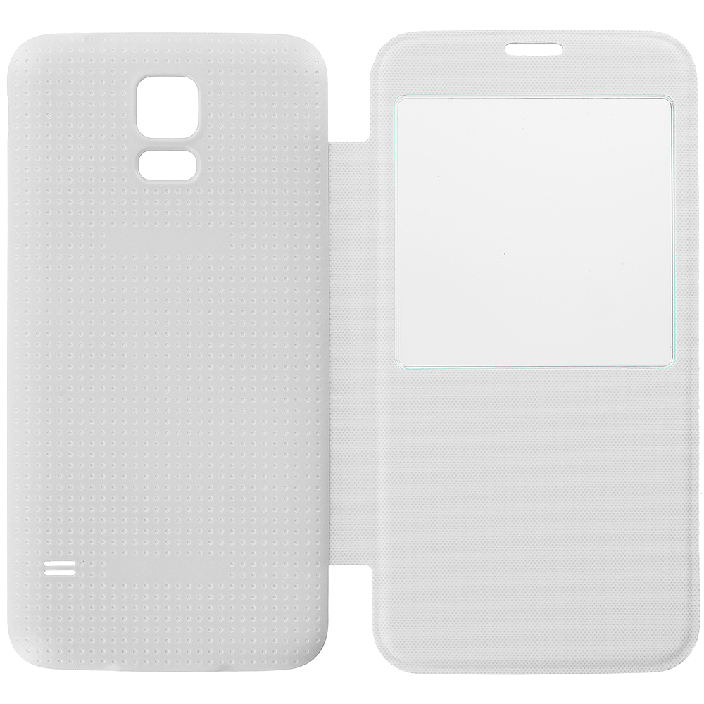 Samsung Galaxy S5 White Battery Door Rear Replacement Ultra Slim Wallet Flip Case Cover