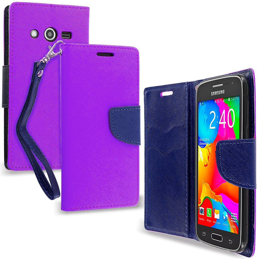 Samsung Galaxy Avant G386 Purple / Navy Blue Leather Flip Wallet Pouch TPU Case Cover with ID Card Slots