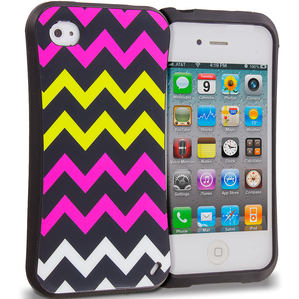 Apple iPhone 4 / 4S Hot Pink Wave Hybrid TPU Hard Soft Shockproof Drop Proof Case Cover