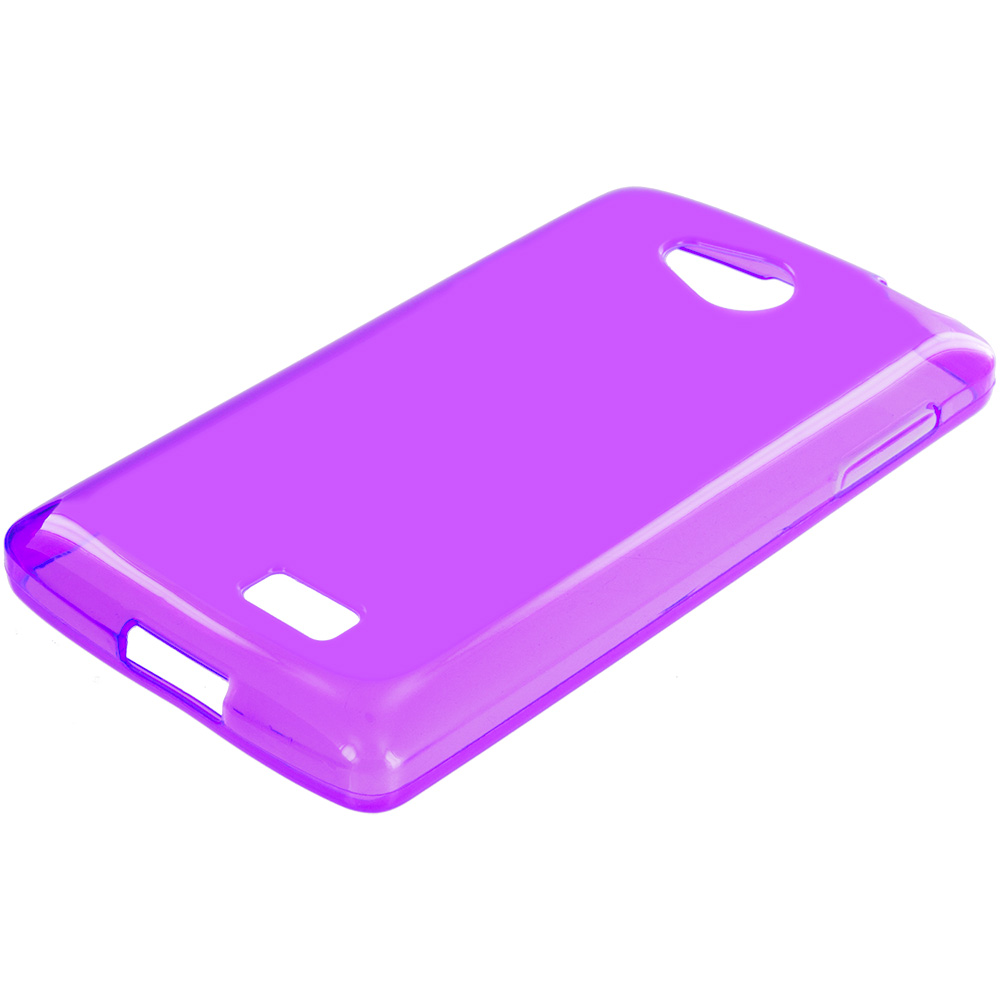 LG Transpyre Tribute F60 Purple TPU Rubber Skin Case Cover
