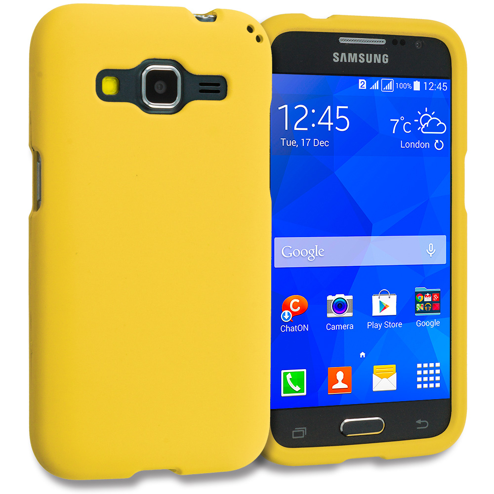 Samsung Galaxy Prevail LTE Core Prime G360P / Prevail LTE 2 in 1 Combo Bundle Pack - White Yellow Hard Rubberized Case Cover : Color Yellow