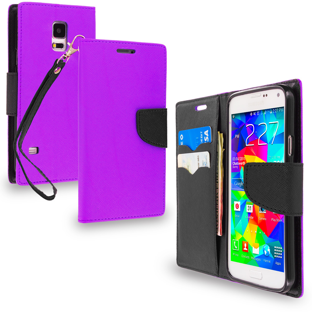 Samsung Galaxy S5 Purple / Black Leather Flip Wallet Pouch TPU Case Cover with ID Card Slots