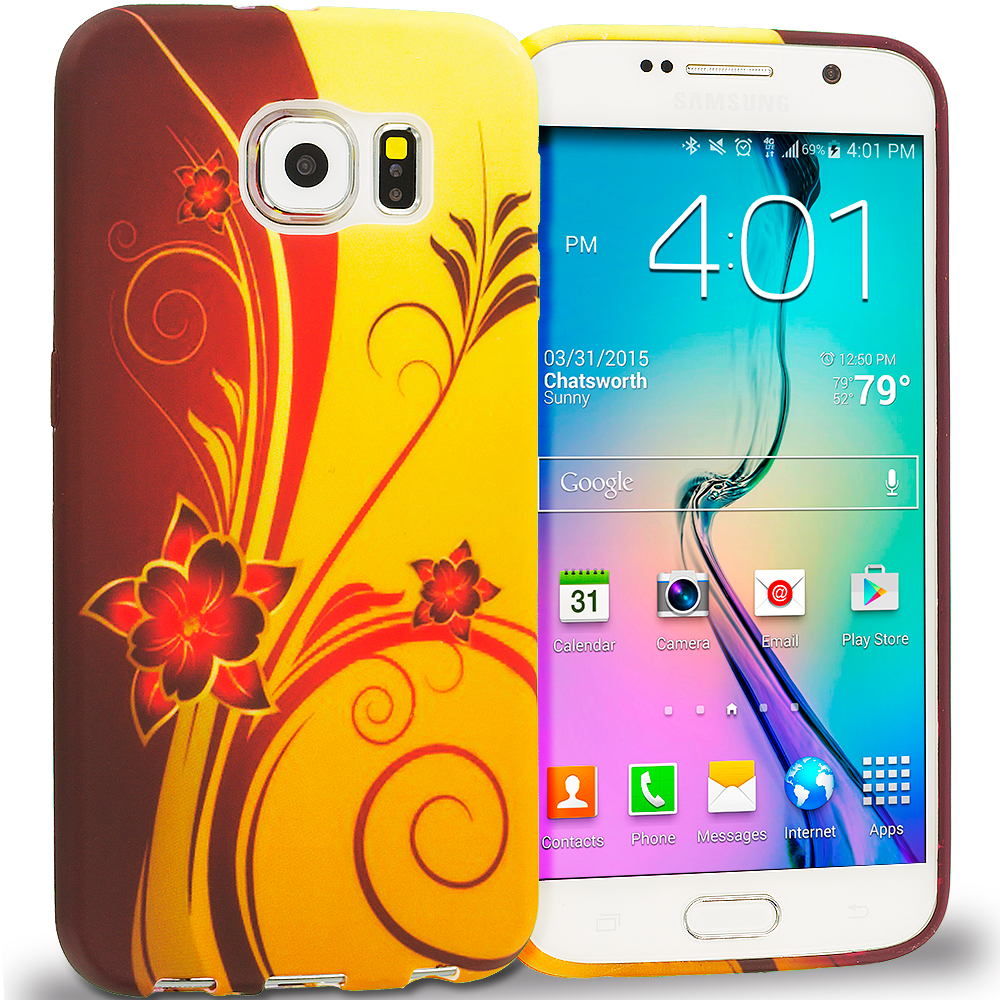 Samsung Galaxy S6 Red Golden Flower TPU Design Soft Rubber Case Cover