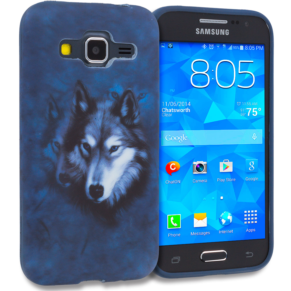 Samsung Galaxy Prevail LTE Core Prime G360P Wolf TPU Design Soft Rubber Case Cover
