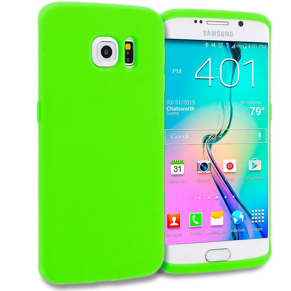 Samsung Galaxy S6 Edge 4 in 1 Combo Bundle Pack - Silicone Soft Skin Rubber Case Cover : Color Neon Green