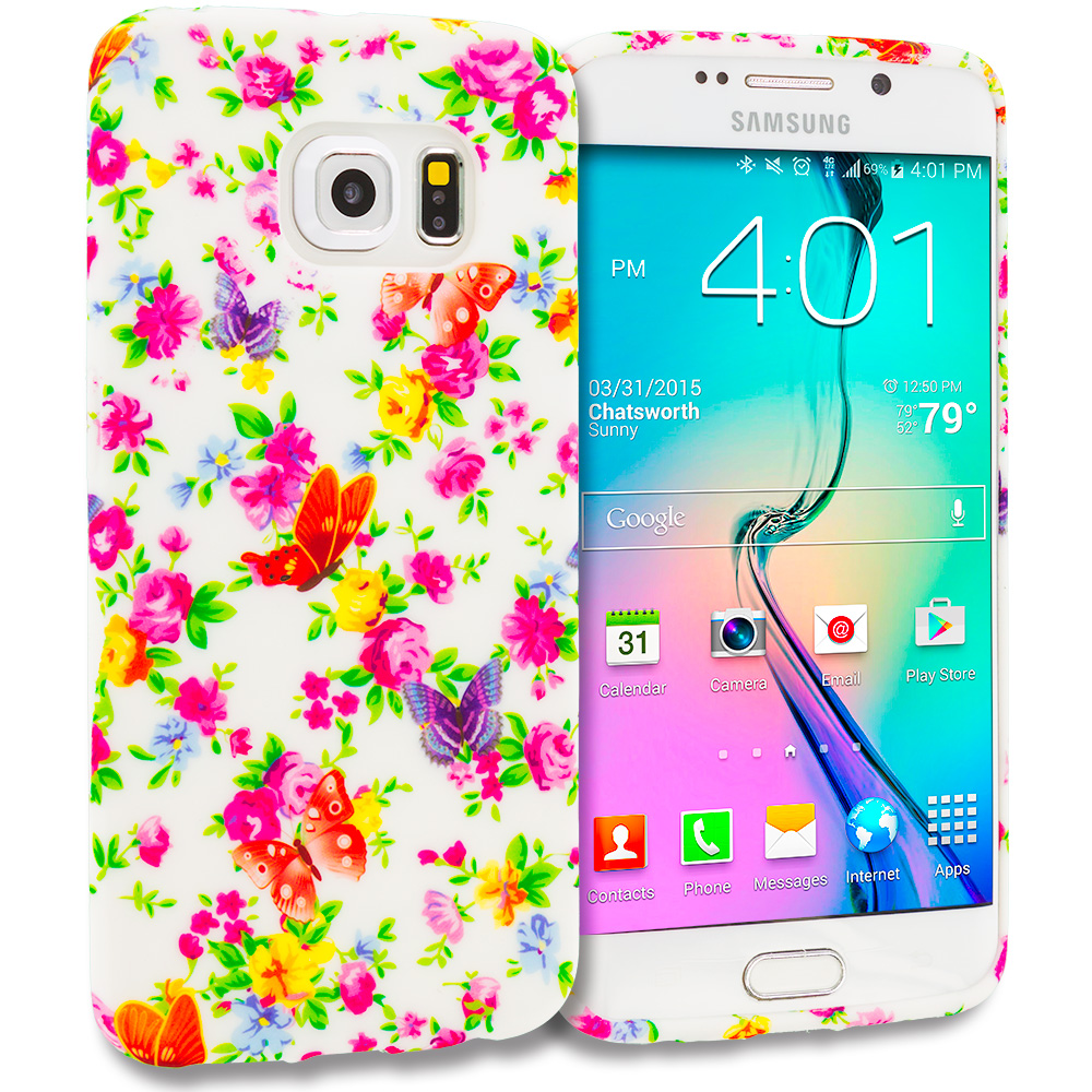 Samsung Galaxy S6 Edge Colorful Flower TPU Design Soft Rubber Case Cover