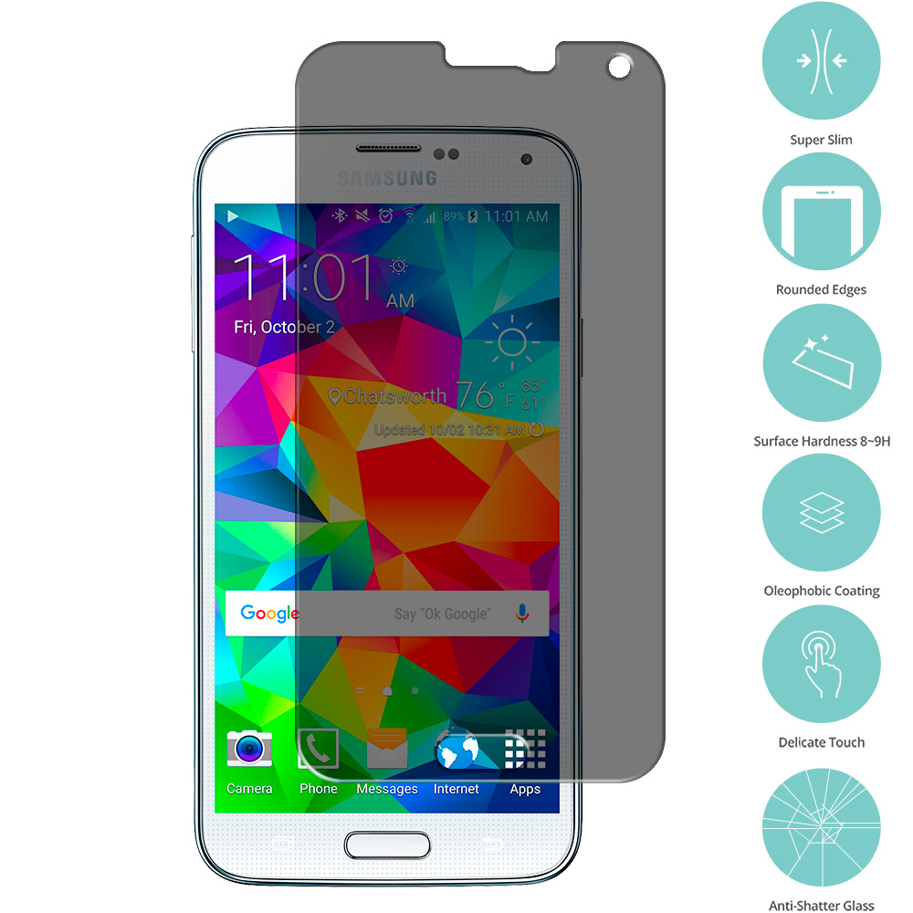 Samsung Galaxy S5 Privacy  Tempered Glass Film Screen Protector