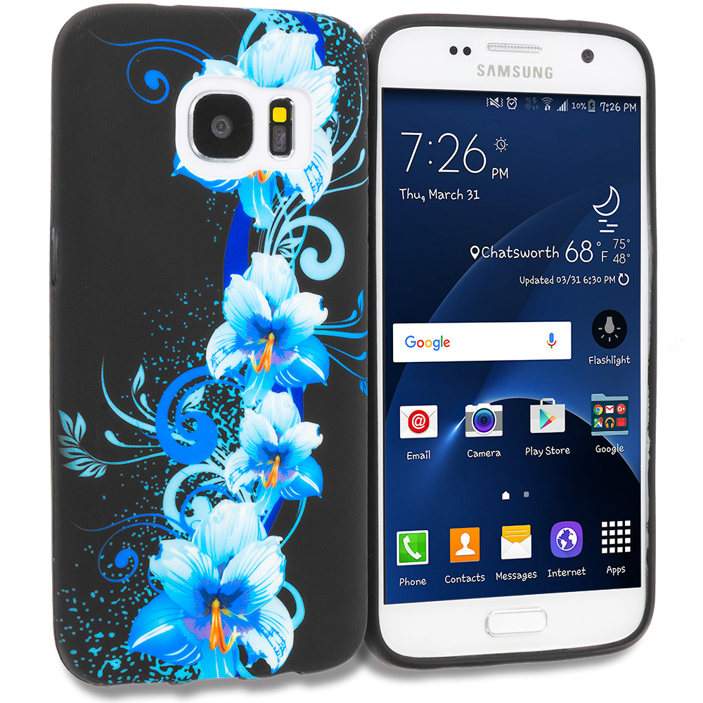 Samsung Galaxy S7 Combo Pack : Blue Flowers TPU Design Soft Rubber Case Cover : Color Blue Flowers