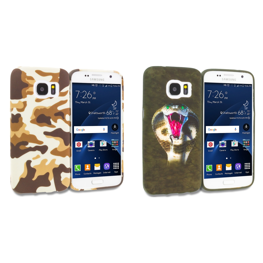 Samsung Galaxy S7 Combo Pack : Camo TPU Design Soft Rubber Case Cover