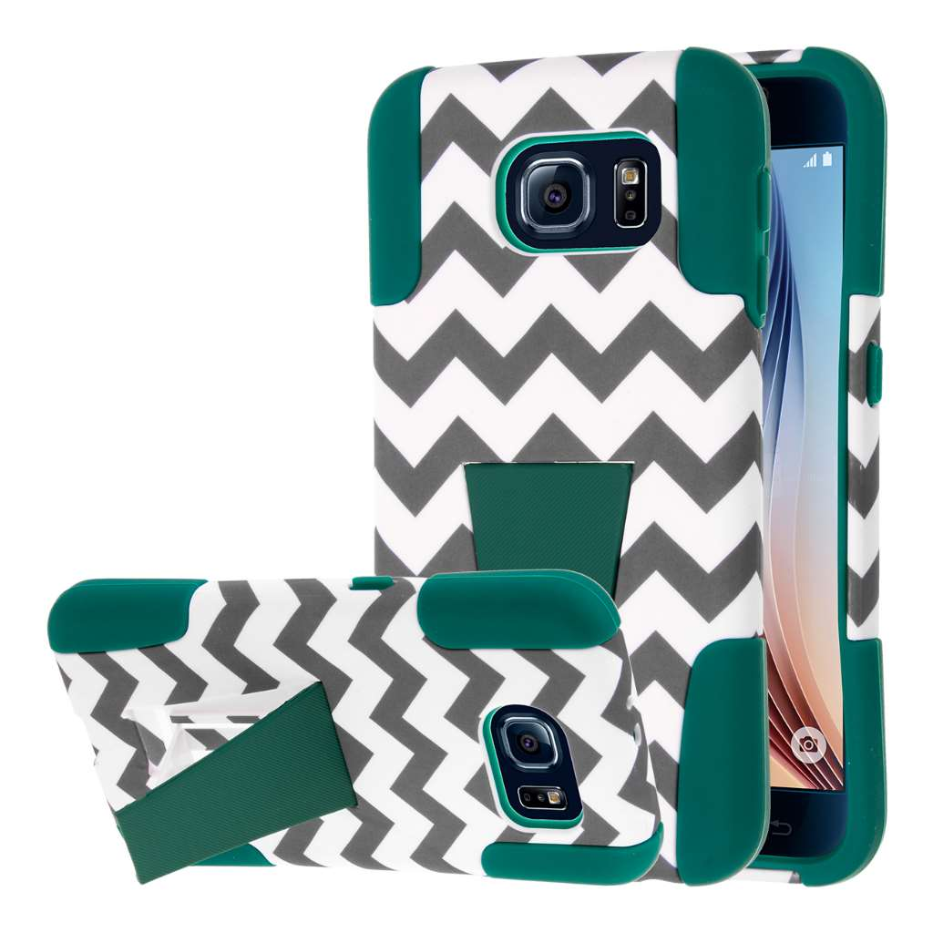 Samsung Galaxy S6 - Teal Chevron MPERO IMPACT X - Kickstand Case Cover