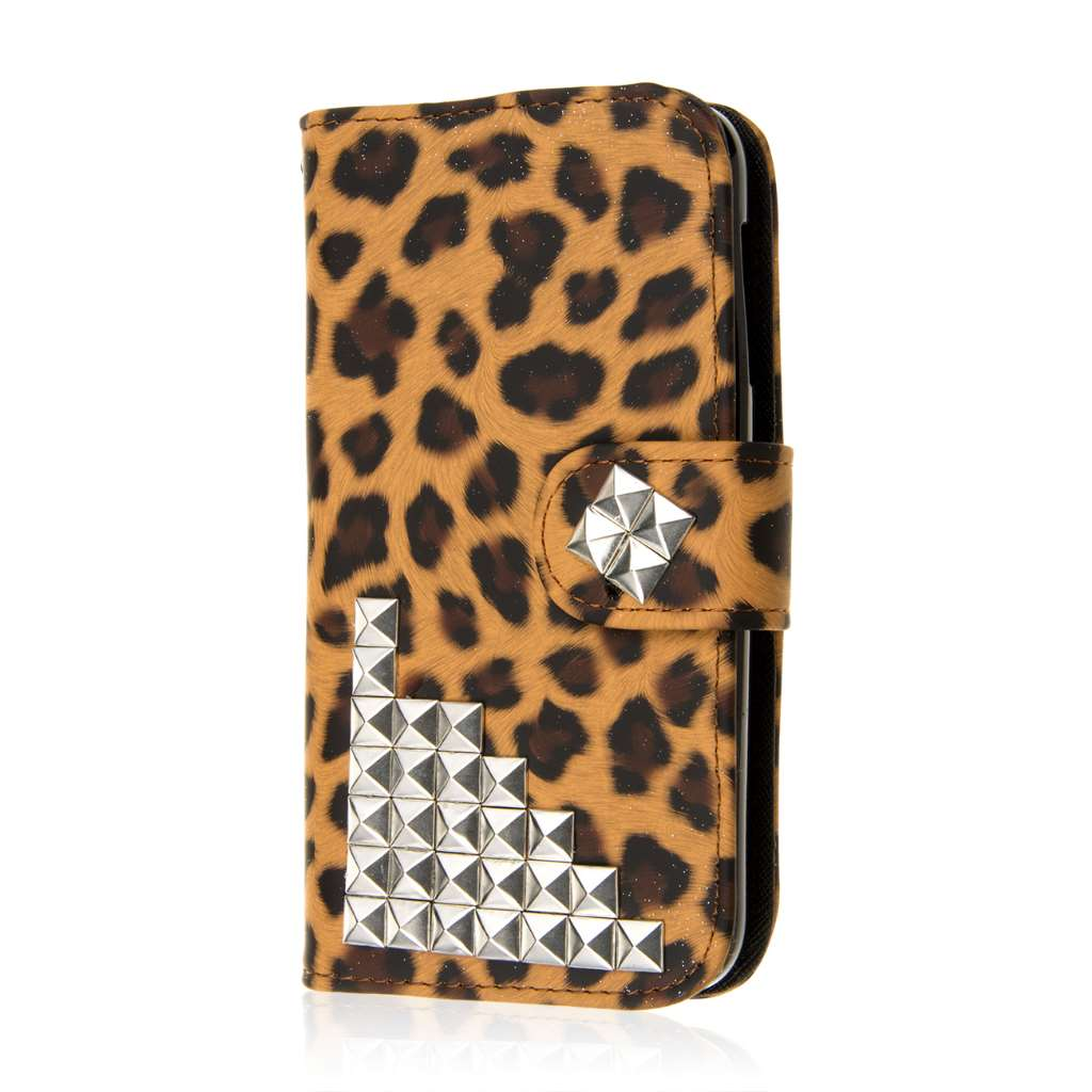 HTC Desire 510 512 - Studded Leopard MPERO FLEX FLIP Wallet Case Cover