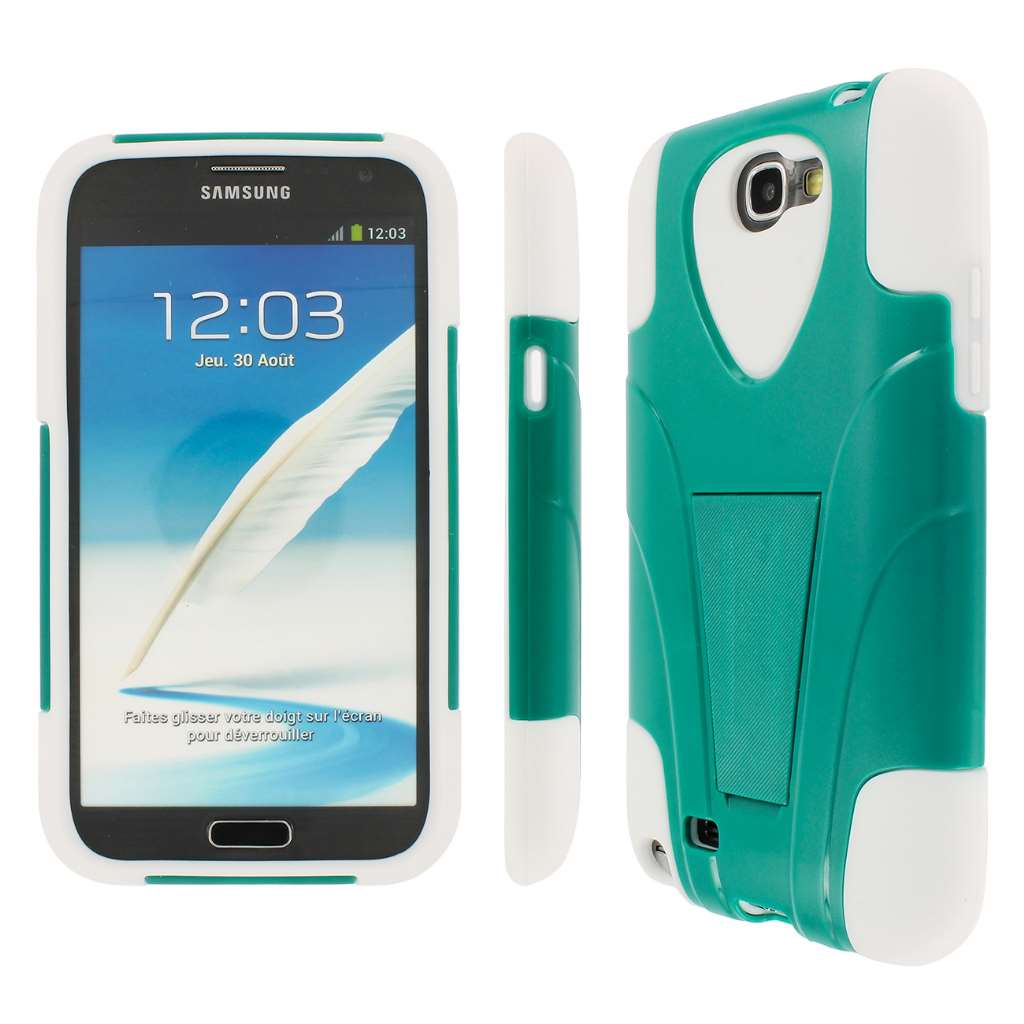 Samsung Galaxy Note 2 - Teal / White MPERO IMPACT X - Kickstand Case Cover
