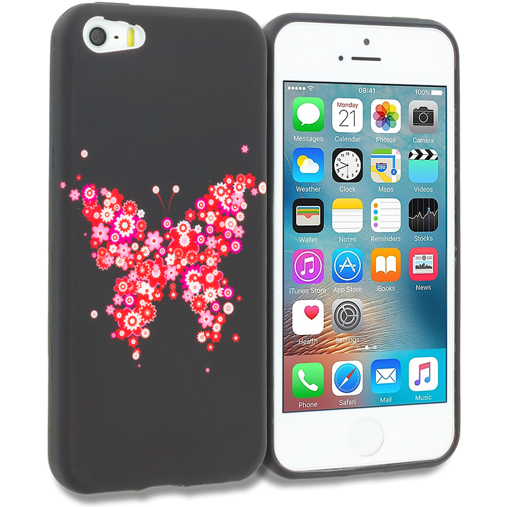 Apple iPhone 5/5S/SE Butterfly Hearts TPU Design Soft Rubber Case Cover