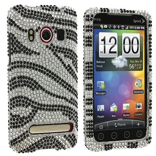 HTC EVO 4G Silver n Black Zebra Bling Rhinestone Case Cover