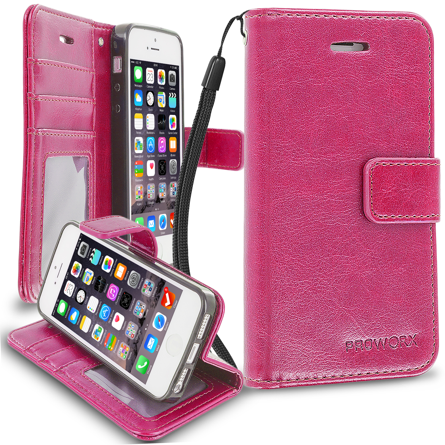 Apple iPhone 5/5S/SE Hot Pink ProWorx Wallet Case Luxury PU Leather Case Cover With Card Slots & Stand
