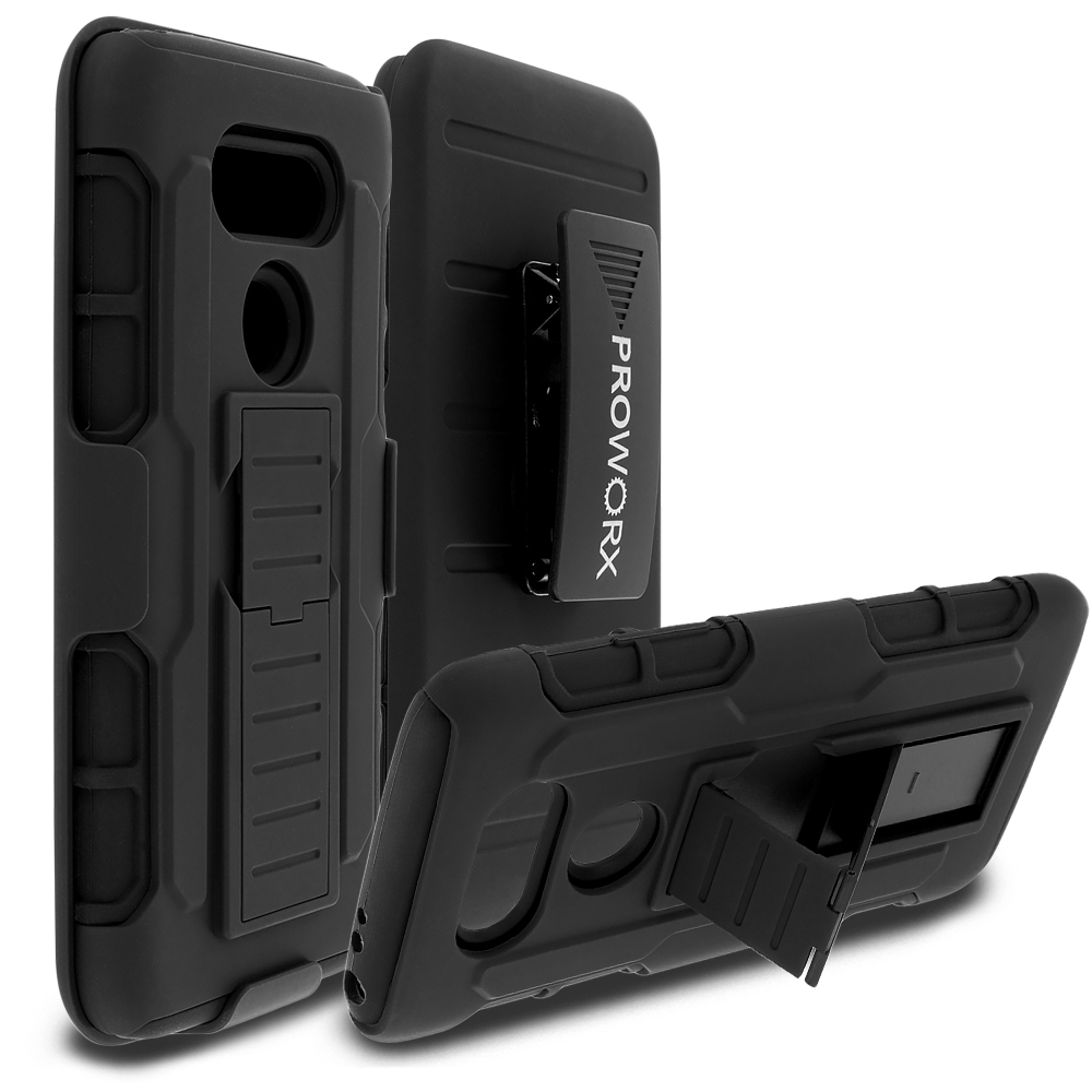 LG G5 Black ProWorx Heavy Duty Shock Absorption Armor Defender Holster Case Cover With Belt Clip
