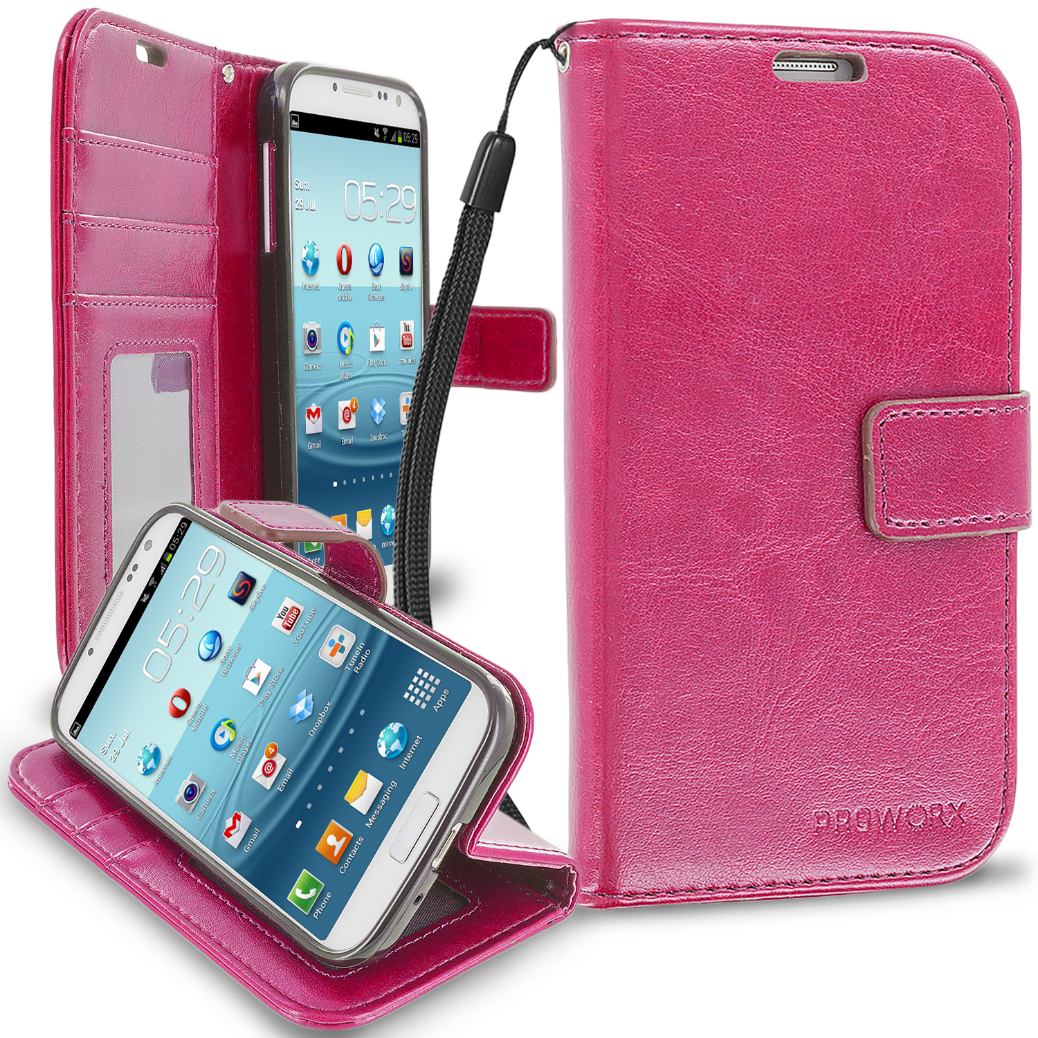 Samsung Galaxy S4 Hot Pink ProWorx Wallet Case Luxury PU Leather Case Cover With Card Slots & Stand