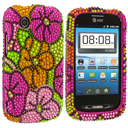 ZTE Avail Z990 Hot Pink Hawaii Bling Rhinestone Case Cover