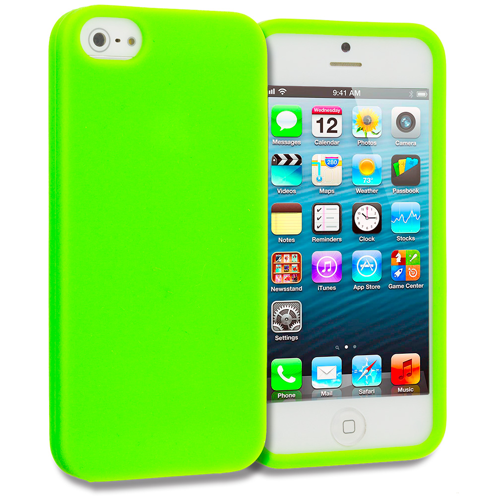Apple iPhone 5/5S/SE 2 in 1 Combo Bundle Pack - Hot Pink Green S-Line TPU Rubber Skin Case Cover : Color Neon Green