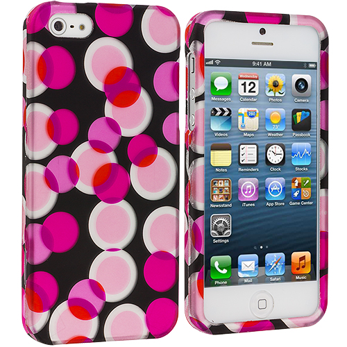 Apple iPhone 5 Combo Pack : Hot Pink Bubbles Hard Rubberized Design Case Cover : Color Hot Pink Bubbles