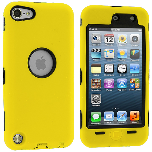 Apple iPod Touch 5th 6th Generation Yellow Deluxe Hybrid Deluxe Hard/Soft Case Cover