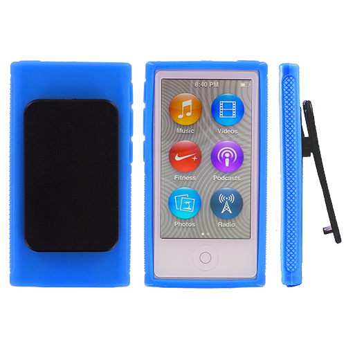 Apple iPod Nano 7th Generation Baby Blue Belt Clip TPU Rubber Skin Case Cover