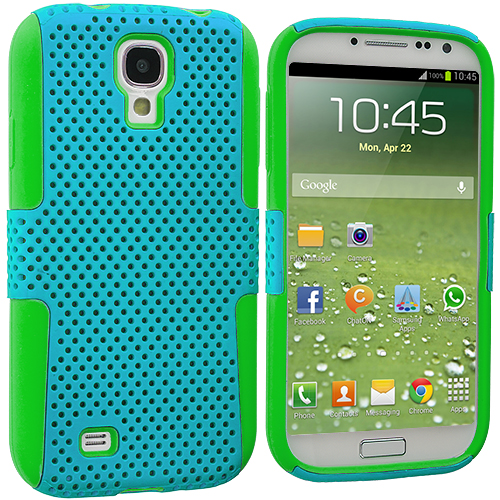 Samsung Galaxy S4 Neon Green / Baby Blue Hybrid Mesh Hard/Soft Case Cover