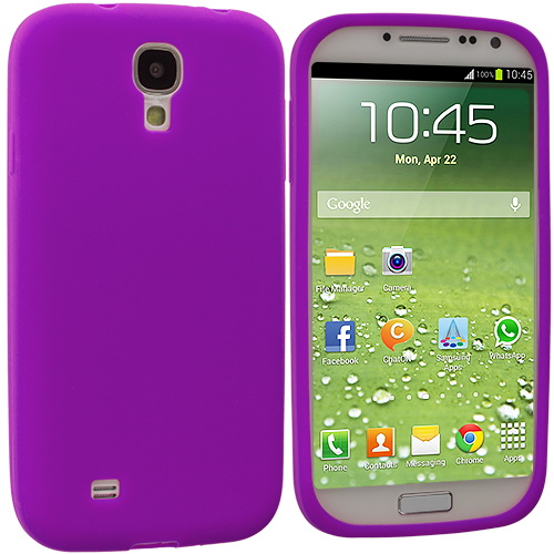 Samsung Galaxy S4 2 in 1 Combo Bundle Pack - White Purple Silicone Soft Skin Case Cover : Color Purple