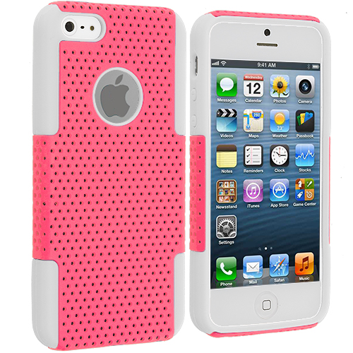 Apple iPhone 5/5S/SE 2 in 1 Combo Bundle Pack - Pink Baby Blue Hybrid Mesh Hard/Soft Case Cover : Color White / Light Pink