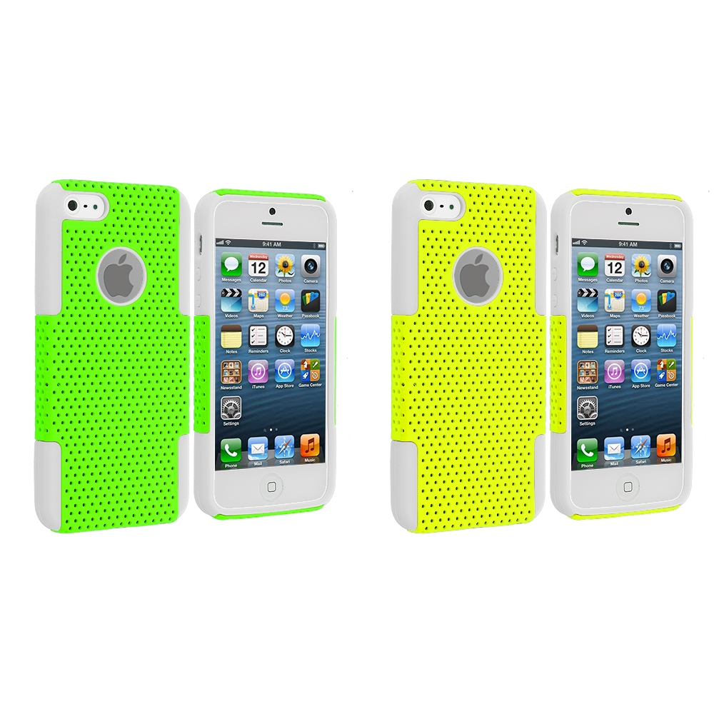 Apple iPhone 5/5S/SE Combo Pack : White / Neon Green Hybrid Mesh Hard/Soft Case Cover