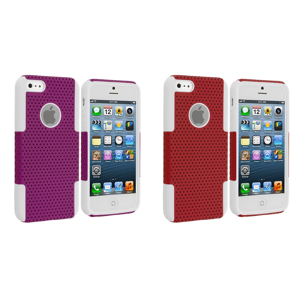 Apple iPhone 5/5S/SE Combo Pack : White / Purple Hybrid Mesh Hard/Soft Case Cover