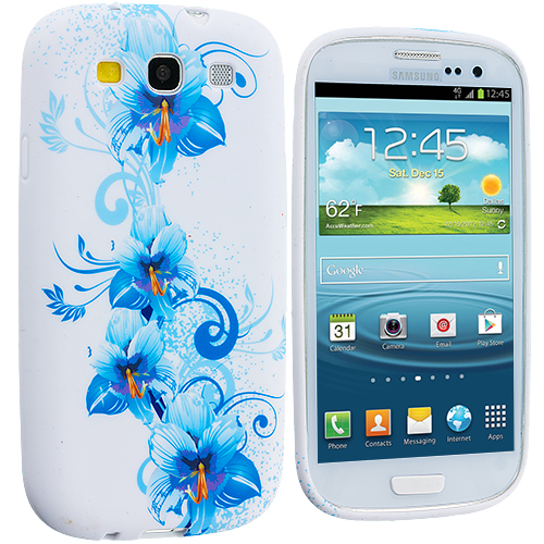 Samsung Galaxy S3 Blue White Flower TPU Design Soft Case Cover