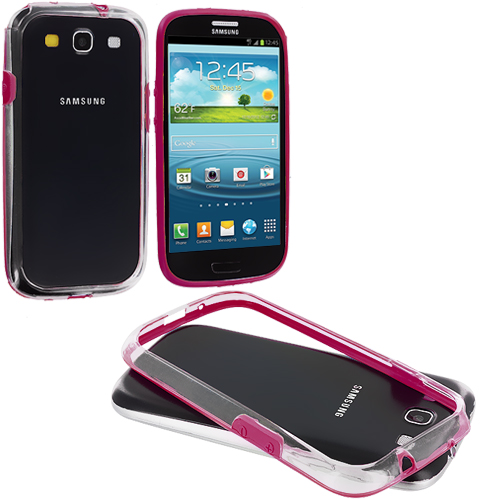 Samsung Galaxy S3 Hot Pink / Clear TPU Bumper