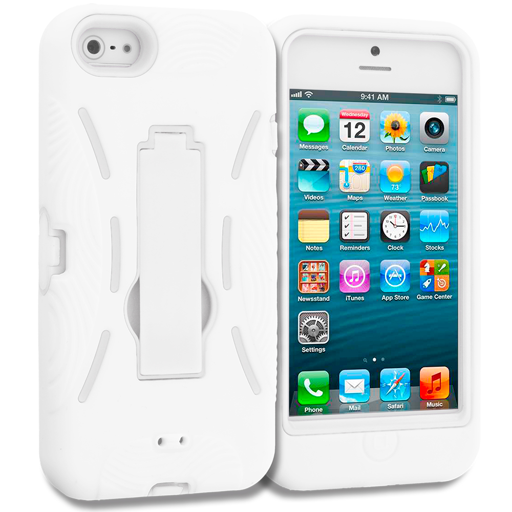 Apple iPhone 5/5S/SE White / White Hybrid Heavy Duty Hard/Soft Case Cover with Stand
