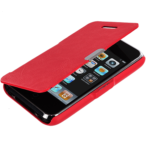 Apple iPhone 3G / 3GS Red Texture Magnetic Wallet Case Cover Pouch