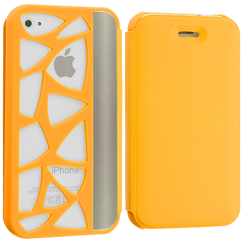 Apple iPhone 4 / 4S Yellow Carved Out Wallet Case Cover Pouch