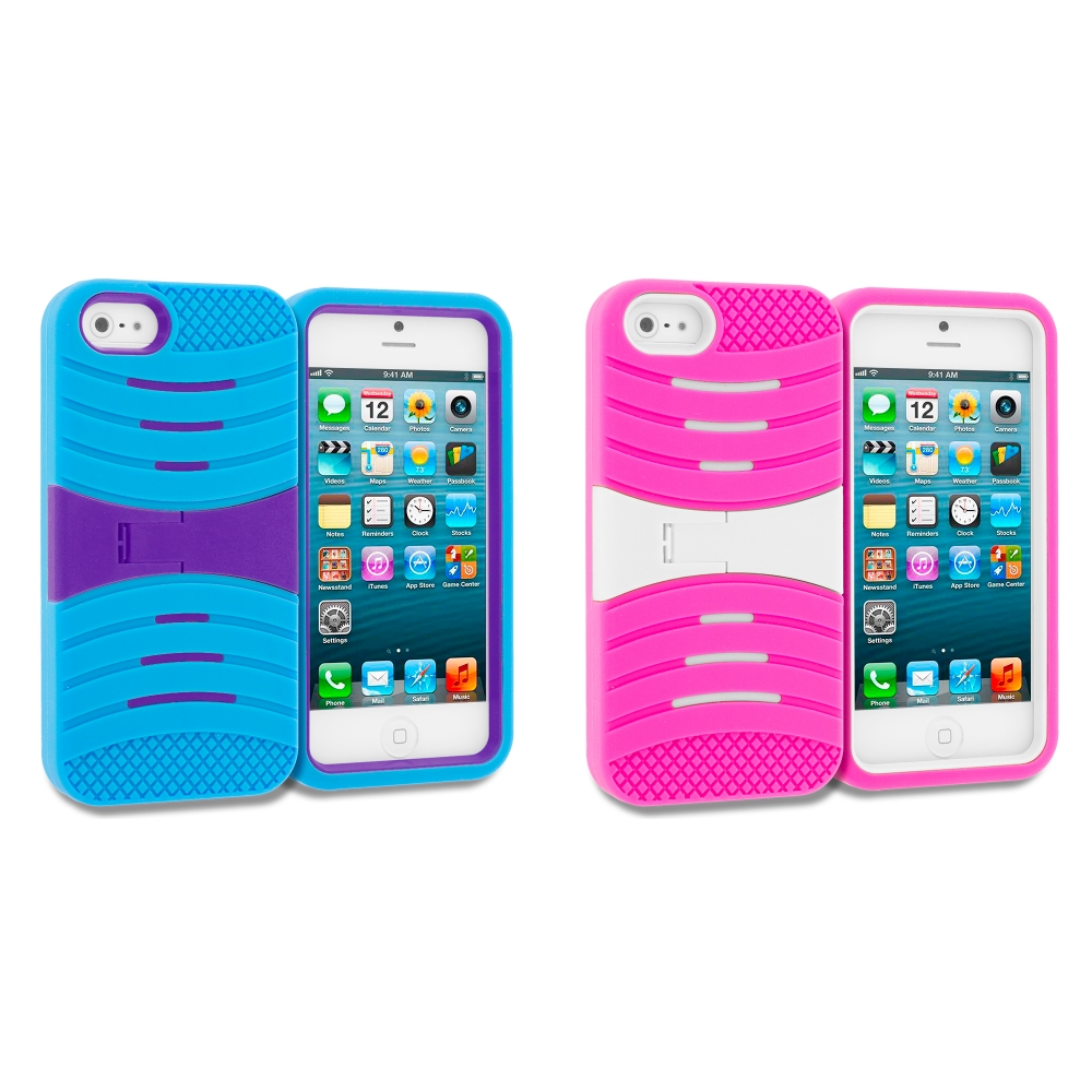 Apple iPhone 5/5S/SE Combo Pack : Baby Blue / Purple Hybrid Hard/Silicone Case Cover with Stand