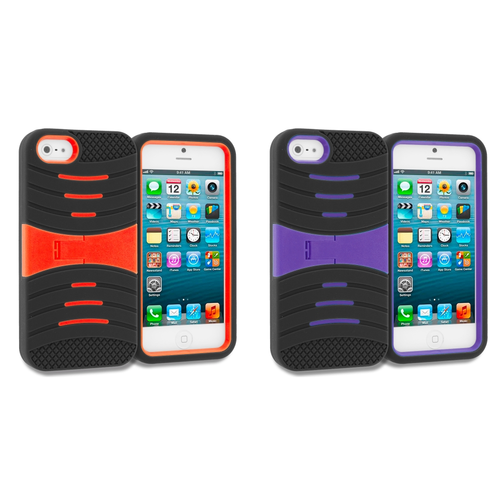 Apple iPhone 5/5S/SE Combo Pack : Black / Orange Hybrid Hard/Silicone Case Cover with Stand